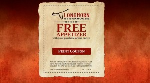 image about Longhorn Coupons Printable named Longhorn steakhouse discount coupons totally free appetizer - Avis condominium automobile