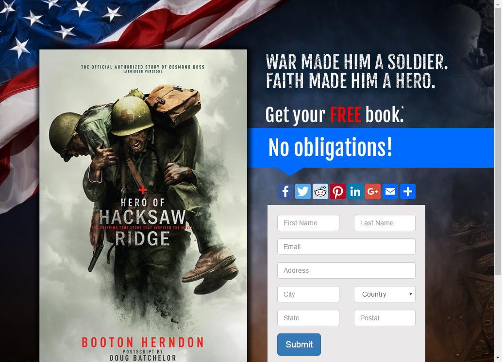 Free Hero of Hacksaw Ridge Book | FREE THINGY .COM